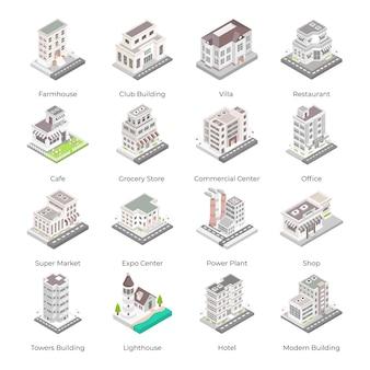 Ensemble d'icônes isométriques de bâtiments urbains