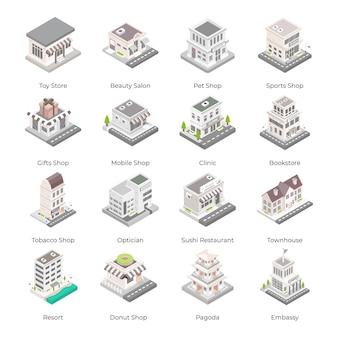 Ensemble d'icônes isométriques de bâtiments de la ville