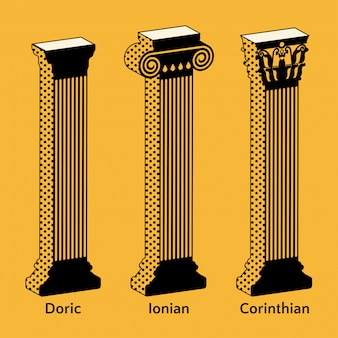 Ensemble d'icônes isométriques de colonnes grecques antiques dans un style rétro