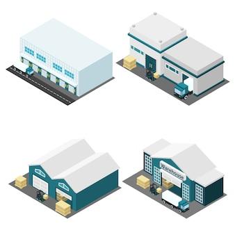 Ensemble d'icônes isométriques d'entrepôt