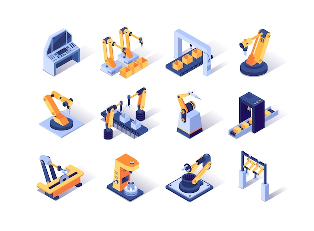 Ensemble d'icônes isométriques de l'industrie de la robotisation.