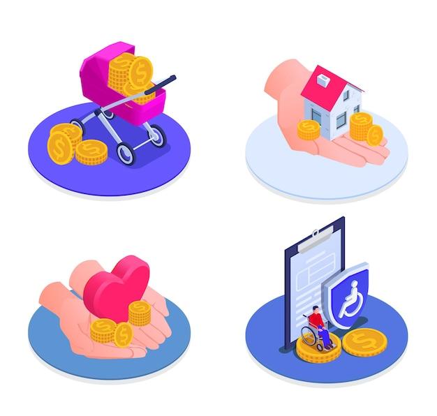 Ensemble d'icônes isométriques de sécurité sociale de soutien à la maternité, illustration isolée de prestations de chômage et d'invalidité