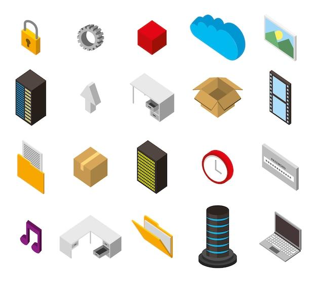 Ensemble d'icônes isométriques de stockage de centre de données