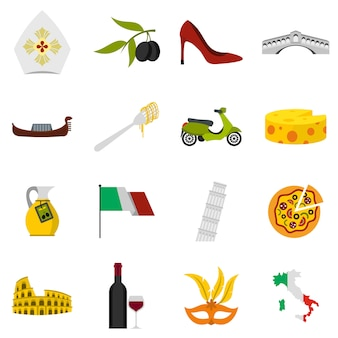 Ensemble d'icônes d'italie