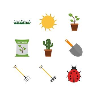 Ensemble d'icônes de jardinage isolé sur fond blanc