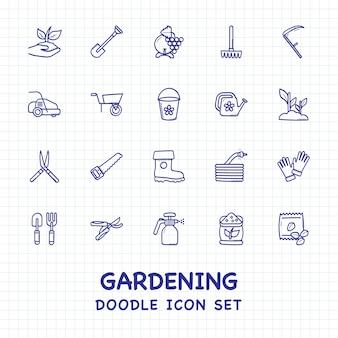 Ensemble d'icônes de jardinage