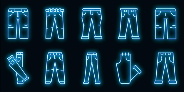 Ensemble d'icônes de jeans. ensemble de contour d'icônes vectorielles jeans couleur néon sur fond noir