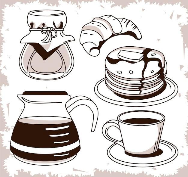 Ensemble d'icônes de jeu d'affiche de petit-déjeuner