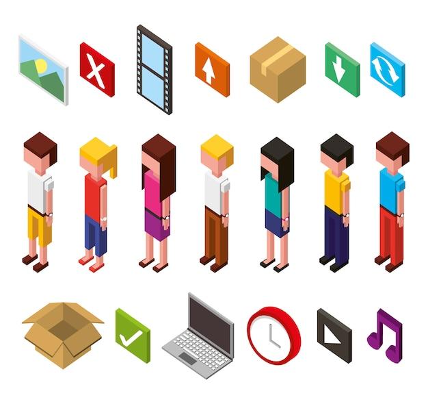 Ensemble d'icônes de jeu d'isométriques avatars de centre de données et d'utilisateurs