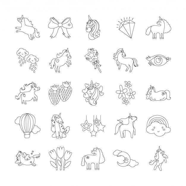 Ensemble d'icônes de jeu de licorne de conte de fées