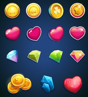 Ensemble d'icônes de jeu: pièces de monnaie, coeurs, bijoux