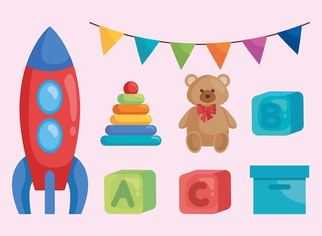 Ensemble d'icônes avec des jouets