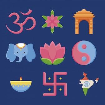 Ensemble, de, icônes, jour indépendance, inde