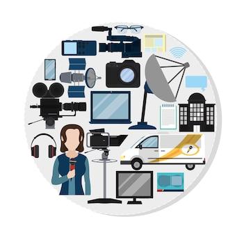 Ensemble d'icônes de journalisme