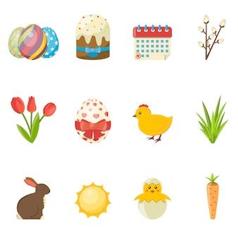 Ensemble d'icônes de joyeuses pâques. illustration vectorielle plat