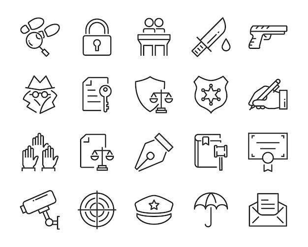 Ensemble d'icônes de juctice, comme la loi, l'avocat, le travail, le juridique, la sécurité