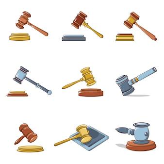Ensemble d'icônes de juge marteau