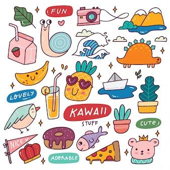Ensemble d'icônes kawaii