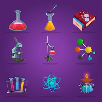 Ensemble d'icônes de laboratoire de chimie