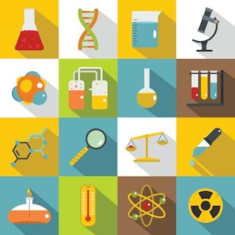 Ensemble d'icônes de laboratoire chimique, style plat