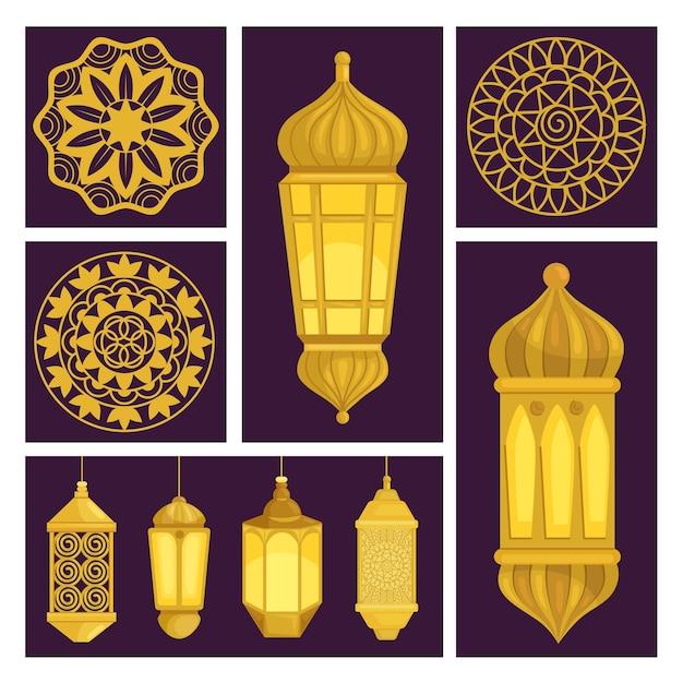 Ensemble d'icônes de lanternes arabes et de mandalas d'or