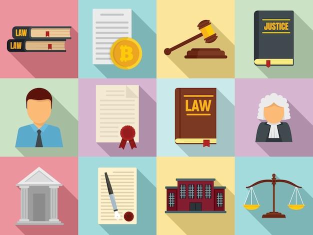 Ensemble d'icônes de législation, style plat