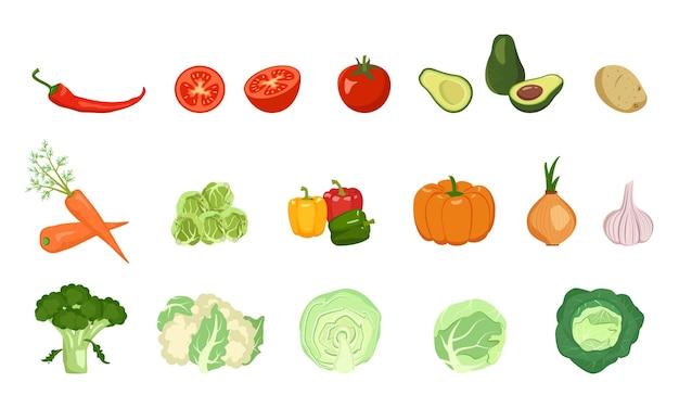 Ensemble d'icônes de légumes.
