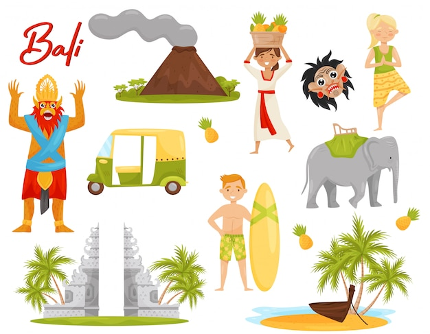 Ensemble d'icônes liées au thème de bali. volcan, monument historique, transport, créature mythique