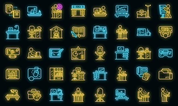 Ensemble d'icônes de lieu de travail ergonomique. ensemble de contour d'icônes vectorielles ergonomiques en milieu de travail couleur néon sur fond noir
