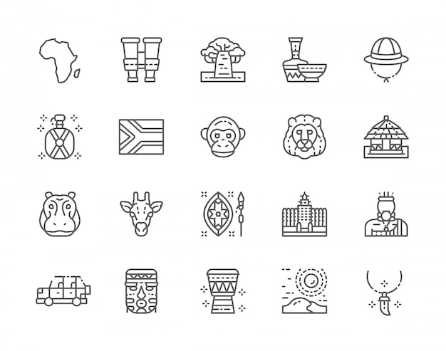 Ensemble d'icônes de ligne afrique