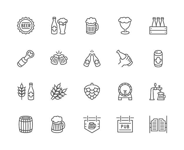 Ensemble d'icônes de ligne de bière. capsule de bouteille, tasse, ouvre-porte, grain de blé, cône de houblon et plus.