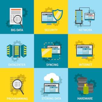 Ensemble d'icônes de ligne de centre de données