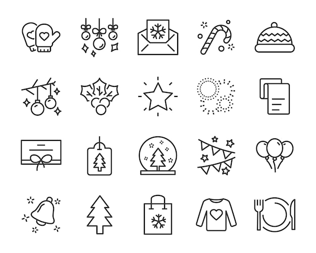 Ensemble d'icônes de ligne de chistmas, telles que boîte, cadeau, hiver