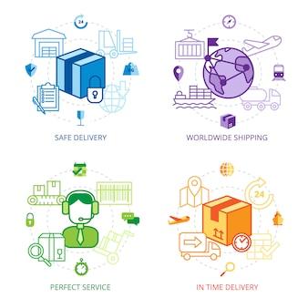 Ensemble d'icônes de ligne de conception logistique