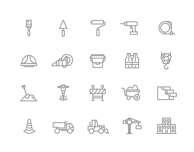 Ensemble d'icônes de ligne de construction et de réparation. brosse, rouleau, perceuse et plus encore.