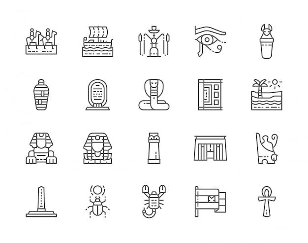 Ensemble d'icônes de ligne de culture égyptienne.