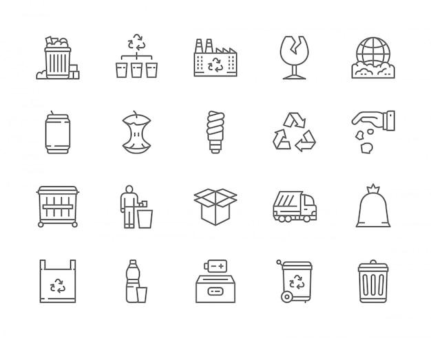 Ensemble d'icônes de ligne de déchets.