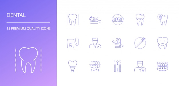 Ensemble d'icônes de ligne dentaire