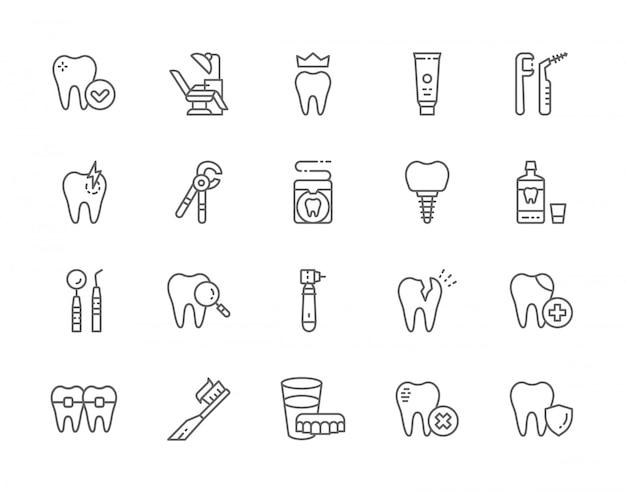 Ensemble d'icônes de ligne de dentisterie.