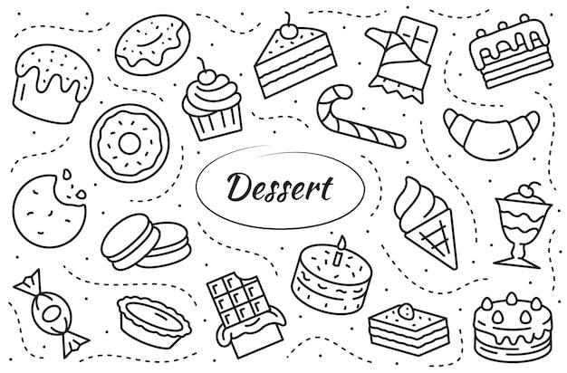 Ensemble d'icônes de ligne de desserts. collection simple illustration d'aliments sucrés.