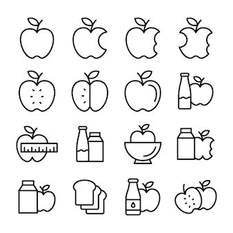 Ensemble d'icônes de ligne de fruits
