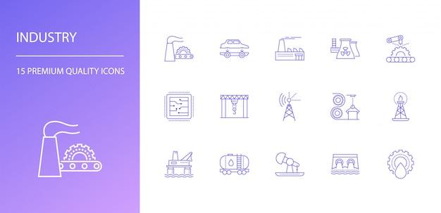 Ensemble d'icônes de ligne industrie