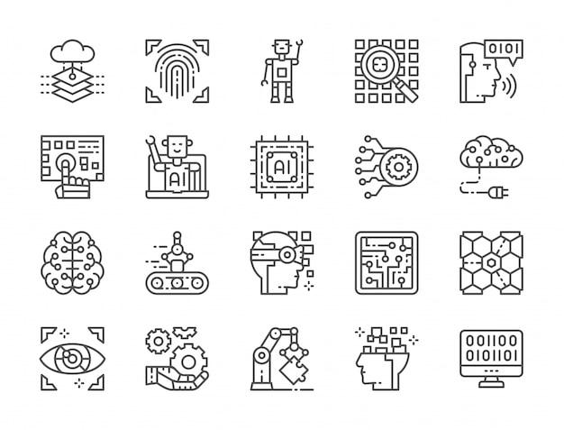 Ensemble d'icônes de ligne d'intelligence artificielle
