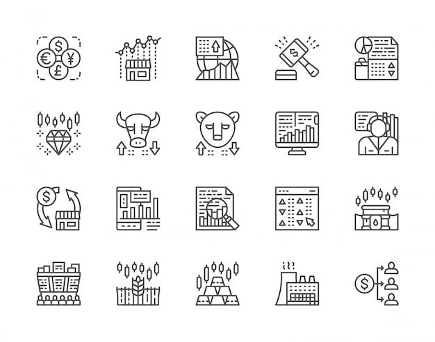Ensemble d'icônes de ligne de marché boursier.
