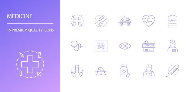 Ensemble d'icônes de ligne de médecine