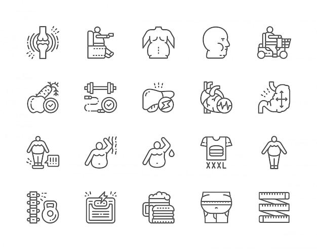 Ensemble d'icônes de ligne d'obésité et de surpoids