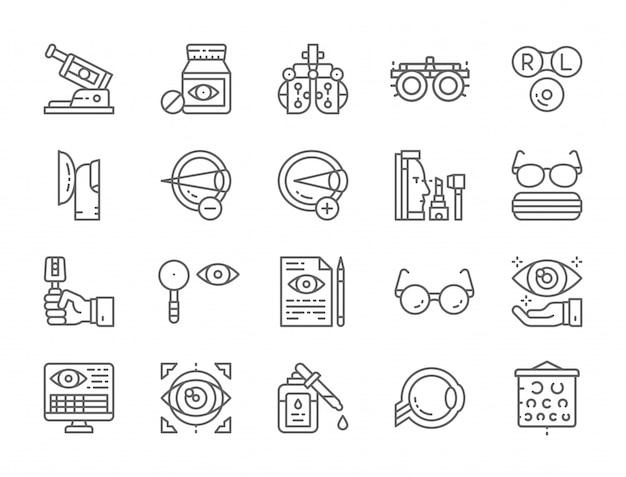 Ensemble d'icônes de ligne d'optométrie