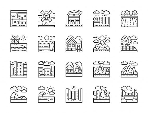 Ensemble d'icônes de ligne de paysage