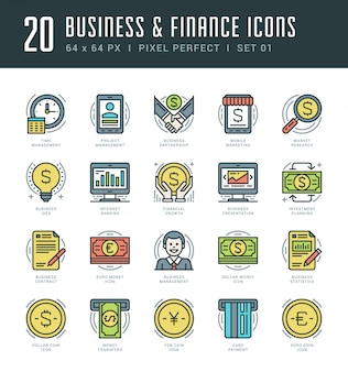 Ensemble d'icônes de ligne plate. concept d'affaires et des finances tendance moderne linéaire mince