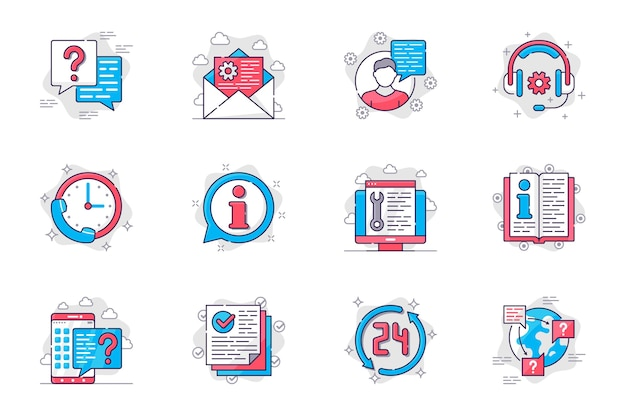 Ensemble d'icônes de ligne plate de concept de support client consultation et assistance dans le centre d'appels pour mobile